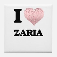 I love Zaria (heart made from words) Tile Coaster