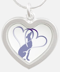 Greyhound Hearts Silver Heart Necklace
