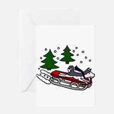 Funny Husky Playing on Sled Greeting Cards