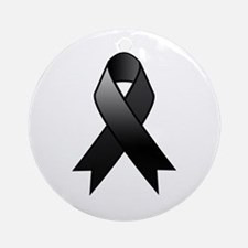 Black Awareness Ribbon Round Ornament