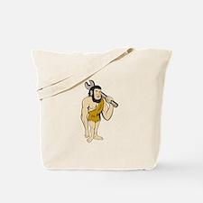 Neanderthal CaveMan With Spanner Cartoon Tote Bag