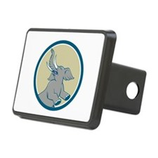 Elephant Prancing Circle Cartoon Hitch Cover