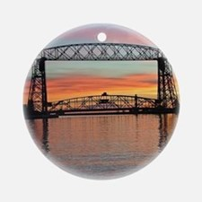 Sunrise Under The Bridge Round Ornament