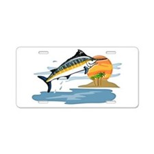 Blue Marlin in Tropical Sea Aluminum License Plate