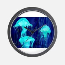 Neon Glowing Jellyfish in the Ocean Wall Clock