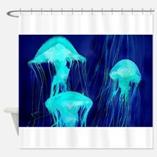 Neon Glowing Jellyfish in the Ocean Shower Curtain