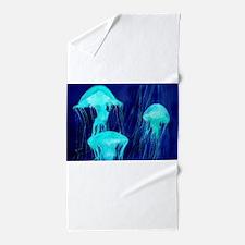Neon Glowing Jellyfish in the Ocean Beach Towel