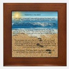 Funny Footprints sand poem Framed Tile