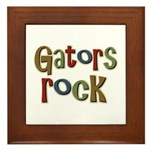 Gators Alligators Football Rock Framed Tile
