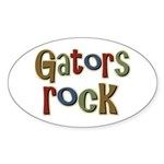 Gators Alligators Football Rock Oval Sticker