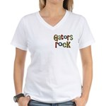 Gators Alligators Football Rock Women's V-Neck T-S