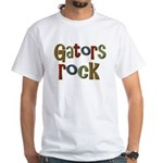 Gators Alligators Football Rock White T-Shirt