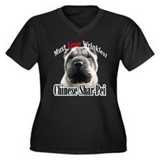 Shar MustLove Women's Plus Size V-Neck Dark T-Shir