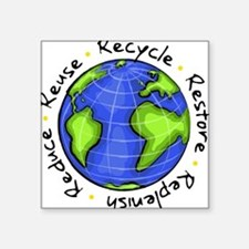"Cute Earth friendly Square Sticker 3"" x 3"""