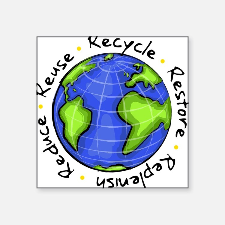 "Cute Ecology Square Sticker 3"" x 3"""
