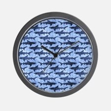 Sharks in the Blue Sea Wall Clock