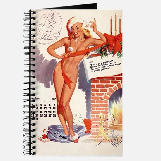 Christmas Pin Up Vintage Girl Journal