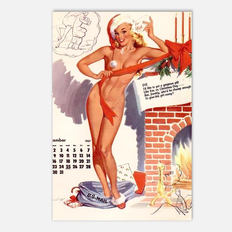 Christmas Pin Up Vintage Girl Postcards (Package o