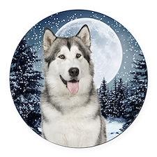 Winter Moon Husky Round Car Magnet
