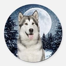 Winter Moon Husky Round Car Magnet