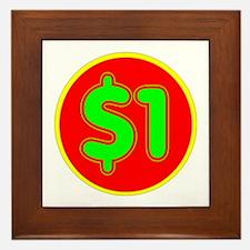 PRICE TAG LABEL - $1 - ONE DOLLAR Framed Tile