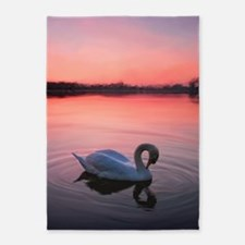 Swan on the lake 5'x7'Area Rug