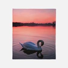 Swan on the lake Throw Blanket