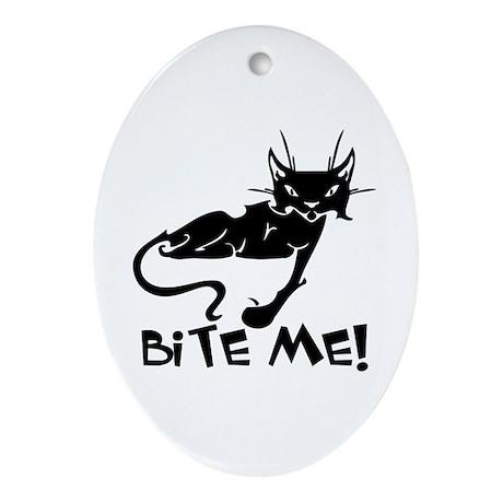 Bite Me Cat Oval Ornament