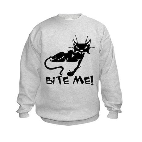 Bite Me Cat Kids Sweatshirt