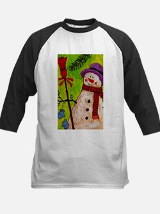 Snowman with Broom Baseball Jersey