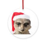 Santa Meerkat Round Ornament
