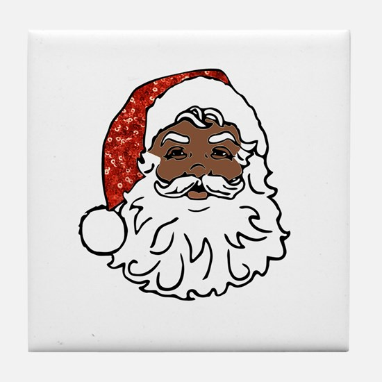 black santa claus Tile Coaster