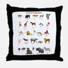 Animal pictures alphabet Throw Pillow