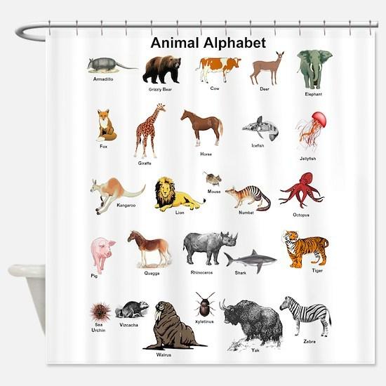 Animal pictures alphabet Shower Curtain