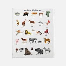 Animal pictures alphabet Throw Blanket
