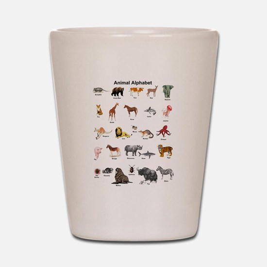 Animal pictures alphabet Shot Glass