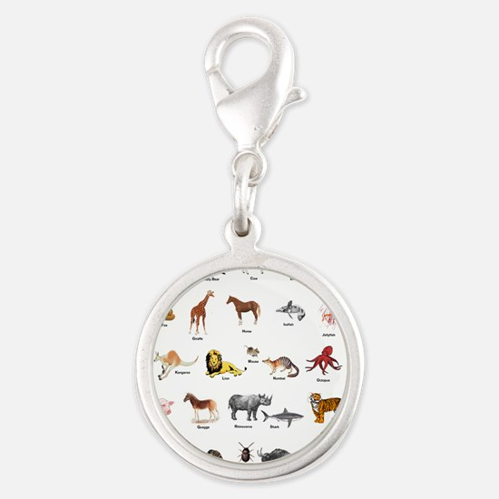 Animal pictures alphabet Silver Round Charm