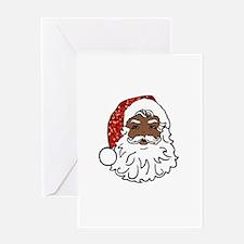 black santa claus Greeting Cards