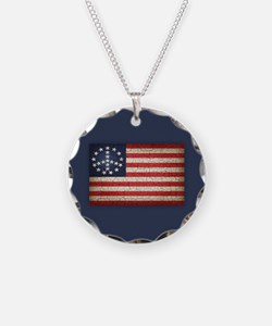 Vintage Peace Flag Necklace