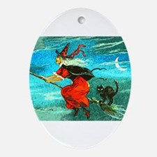Flying Witch Oval Ornament