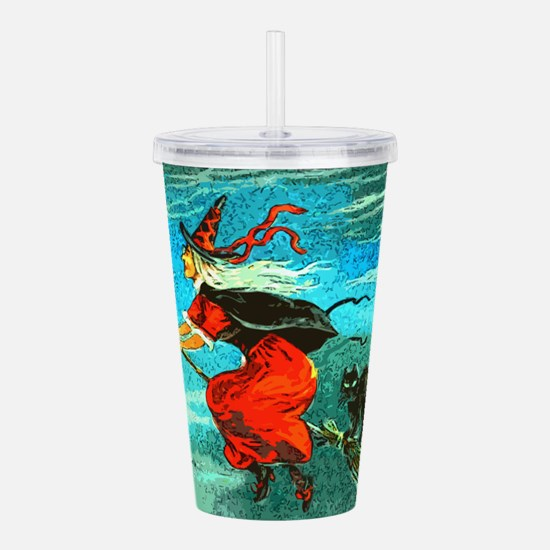 Flying Witch Acrylic Double-wall Tumbler