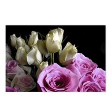White and Pink Roses Postcards (Package of 8)