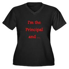 Cute Principal Women's Plus Size V-Neck Dark T-Shirt