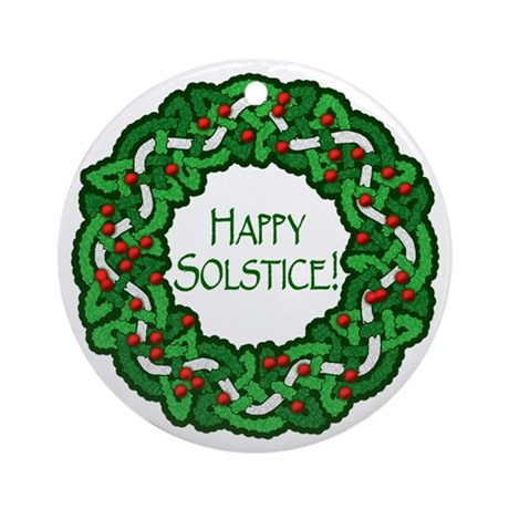 Celtic Solstice Wreath Ornament (Round)