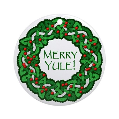Celtic Merry Yule Ornament (Round)