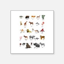 "Animal pictures alphabet Square Sticker 3"" x 3"""