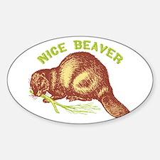 Nice Beaver Oval Decal