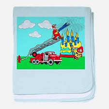 Firemen Notecard baby blanket