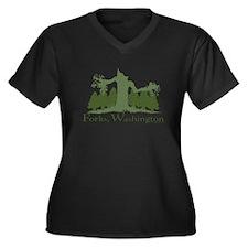 Forks, WA Women's Plus Size V-Neck Dark T-Shirt