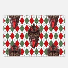 plaid monster krampus Postcards (Package of 8)